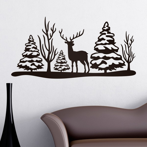 Vinilos Decorativos: Paisaje navideño ciervo y árboles