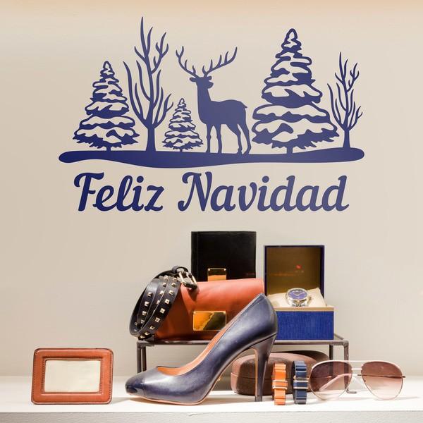 Vinilos Decorativos: Árboles, ciervo y Feliz Navidad
