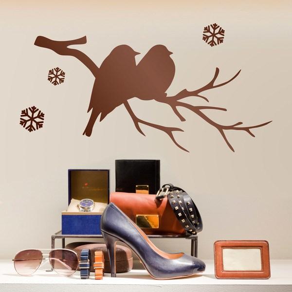 Vinilos Decorativos: Pájaros en la rama y nieve