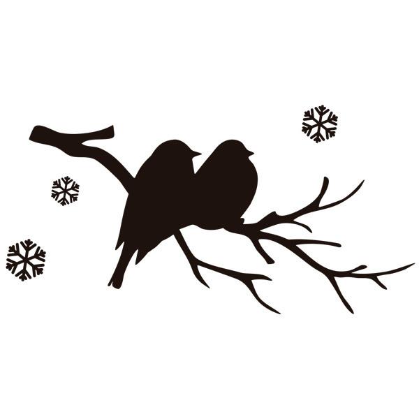 Vinilo decorativo p jaros en la rama y nieve - Vinilos de pajaros ...