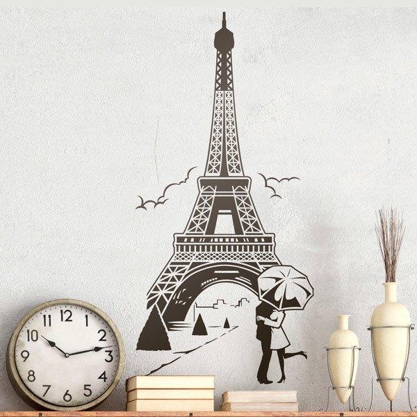 Vinilos Decorativos: Enamorados bajo la torre Eiffel