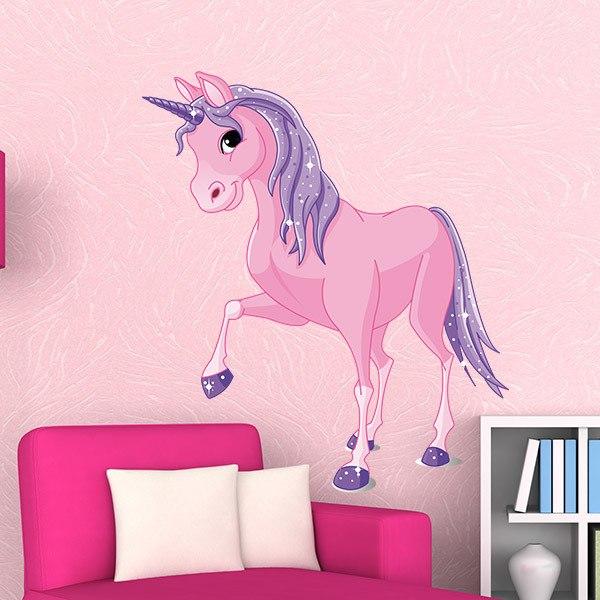 Vinilos Infantiles: Caballo Unicornio Rosa