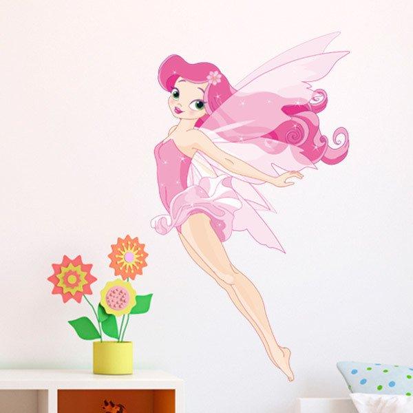 Vinilos Infantiles: Hada rosa volando