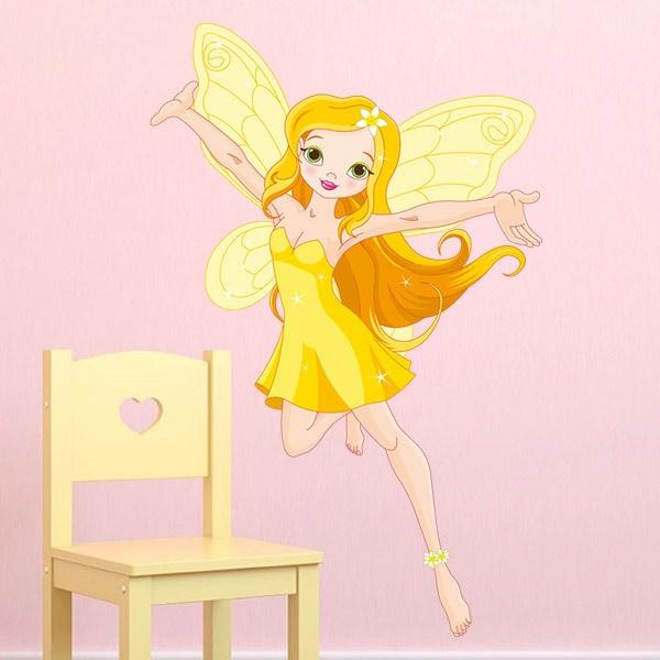 Vinilos Infantiles: Hada amarilla volando
