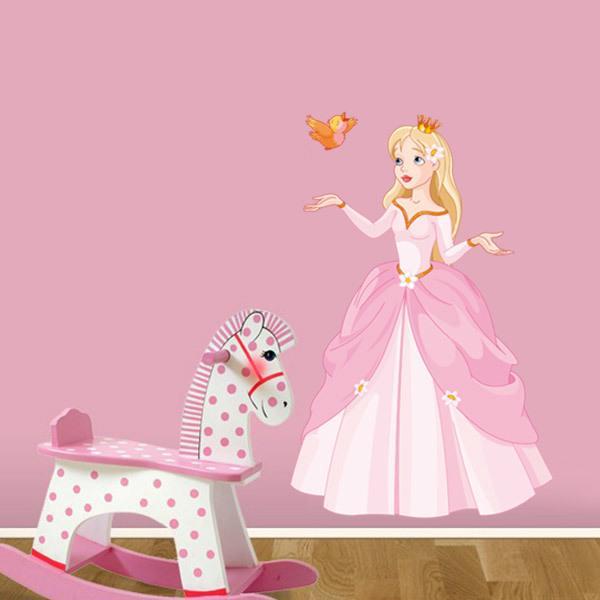 Vinilos Infantiles: Princesa y pajarito