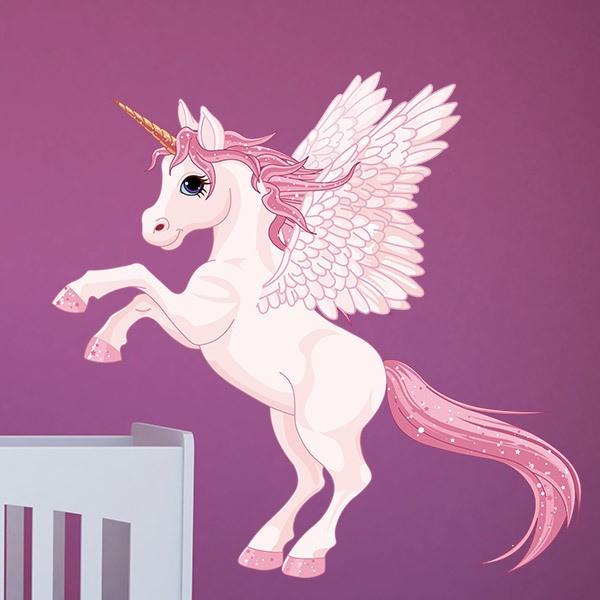 Vinilos Infantiles: Unicornio con alas rosa