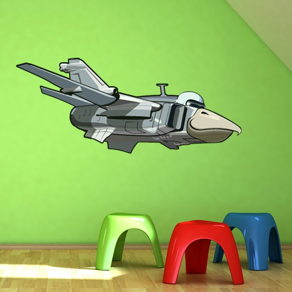 Vinilos Infantiles: Avión con cabeza de pájaro 2