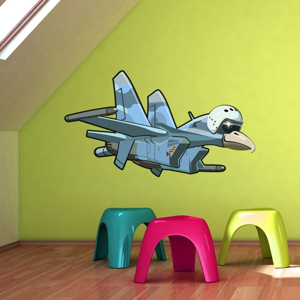 Vinilos Infantiles: Avión con cabeza de pájaro 3