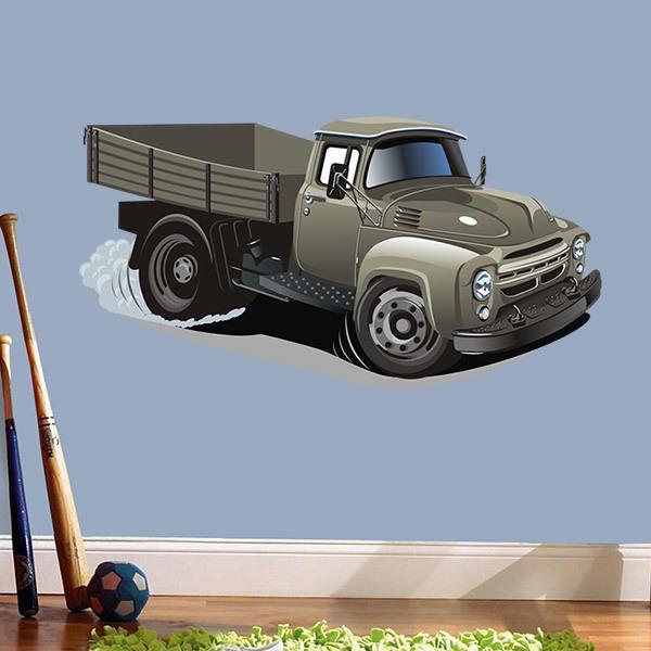 Vinilos Infantiles: Camión de transporte antiguo