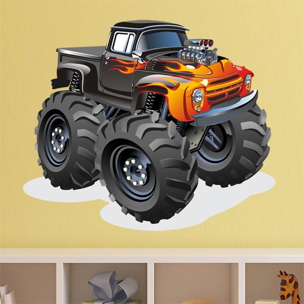Vinilos Infantiles: Monster Truck ranchera fuego
