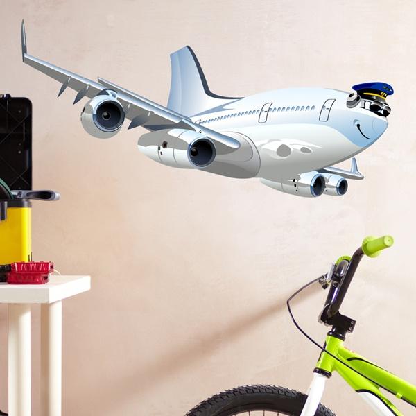 Vinilos Infantiles: Avión comercial 4