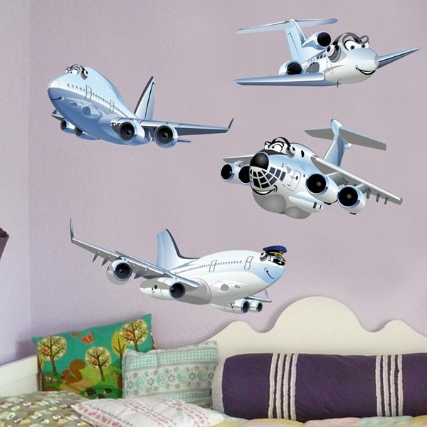 Vinilos Infantiles: Kit de aviones de pasajeros 2