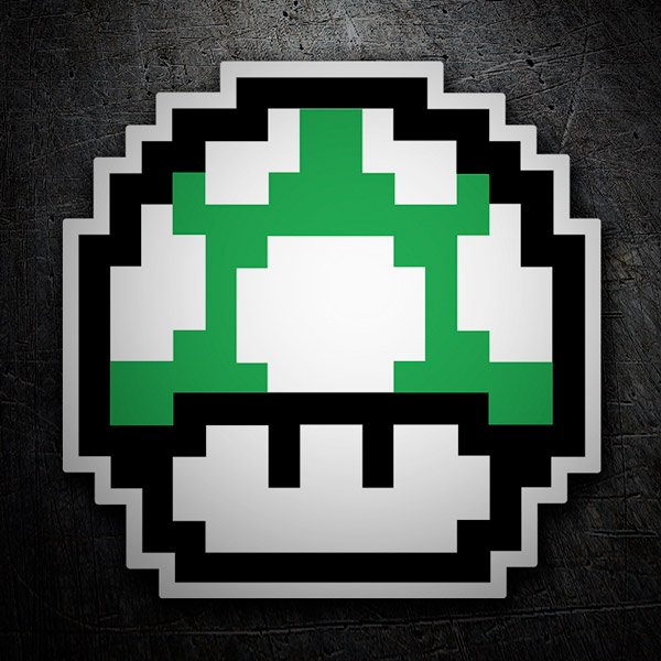 Pegatinas: Mario Bros Seta Pixel Verde