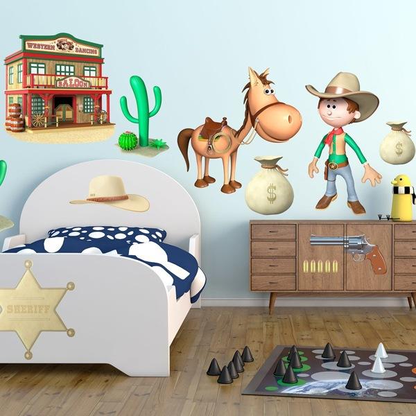 Vinilos Infantiles: Kit Vaquero Cowboy