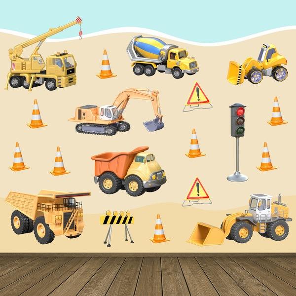 Vinilos Infantiles: Kit Camiones Construcción
