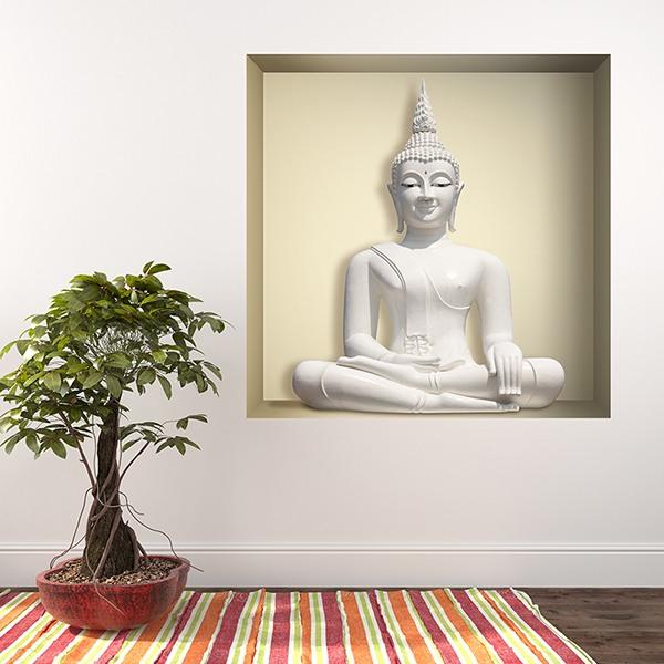 Vinilos Decorativos: Nicho Buda blanco