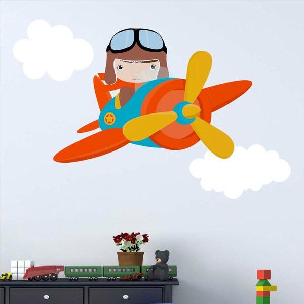 Vinilos Infantiles: Avión en las nubes