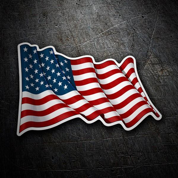 Pegatinas: Bandera de USA ondeando