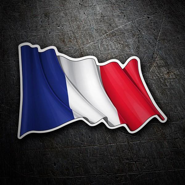 Pegatinas: Bandera de Francia ondeando
