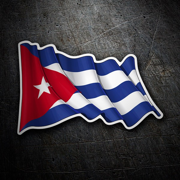 Pegatinas: Bandera de Cuba ondeando