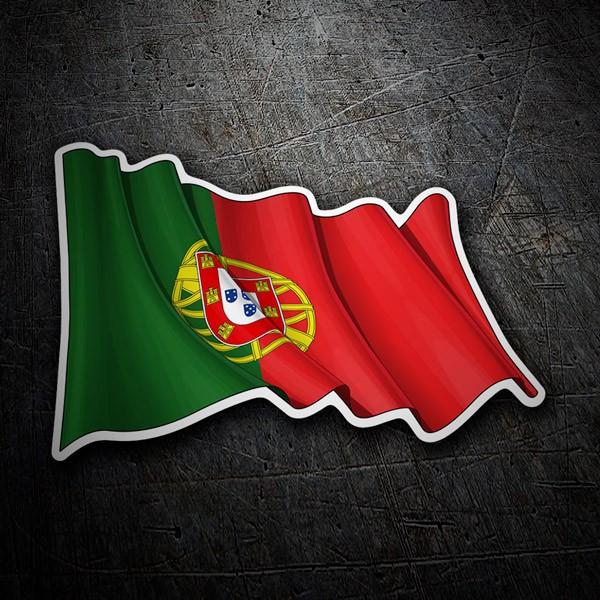 Pegatinas: Bandera de Portugal ondeando