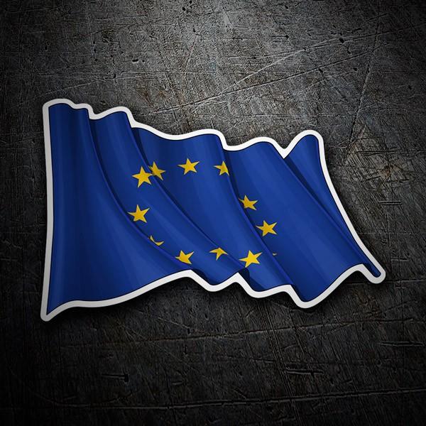 Pegatinas: Bandera de la Unión Europea ondeando