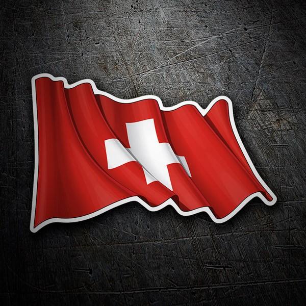 Pegatinas: Bandera de Suiza ondeando