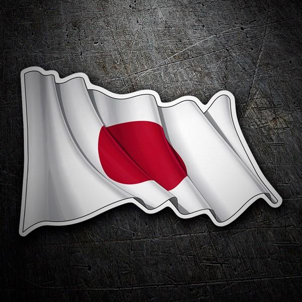 Pegatinas: Bandera de Japón ondeando