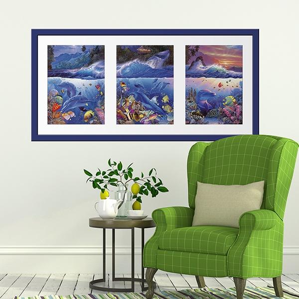 Vinilos Decorativos: Tríptico fondo marino