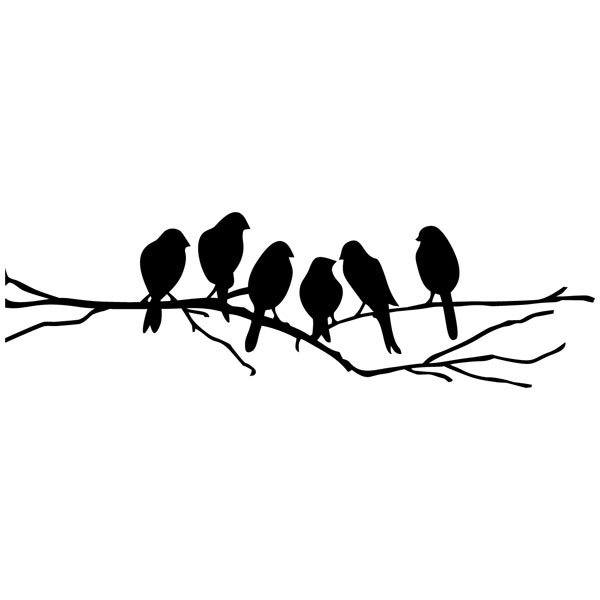 Vinilo decorativo 6 p jaros sobre una rama - Vinilos de pajaros ...