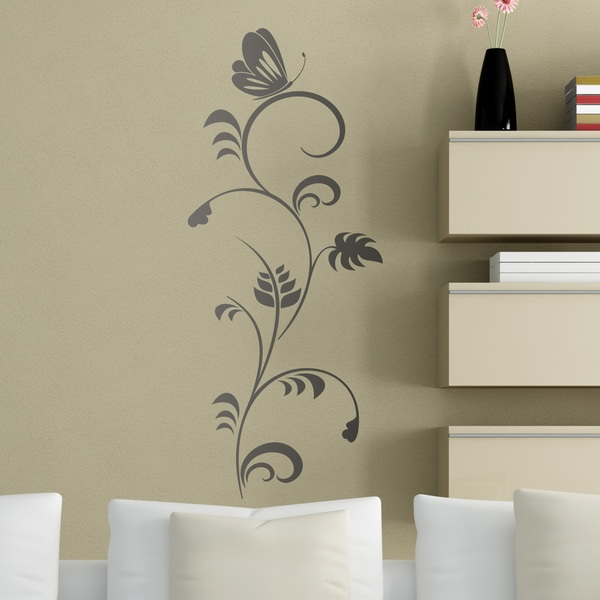 Vinilos Decorativos: Mariposa sobre Floral