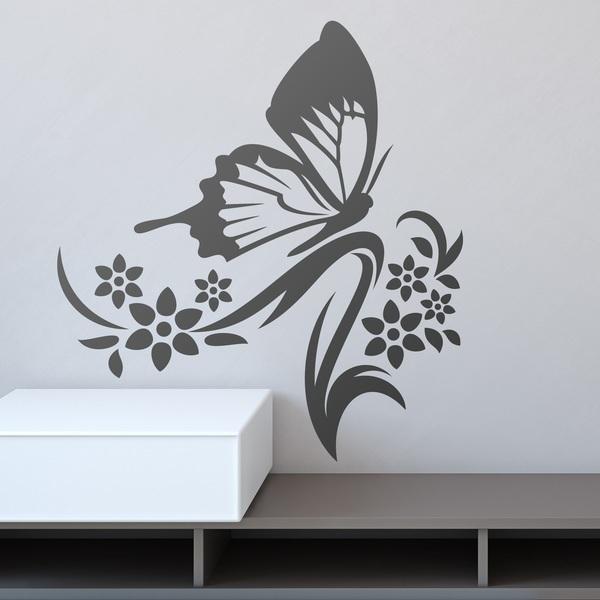 Vinilo decorativo mariposa sobre floral y rama for Vinilos mariposas