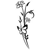 Vinilos Decorativos: Mariposa y Flores