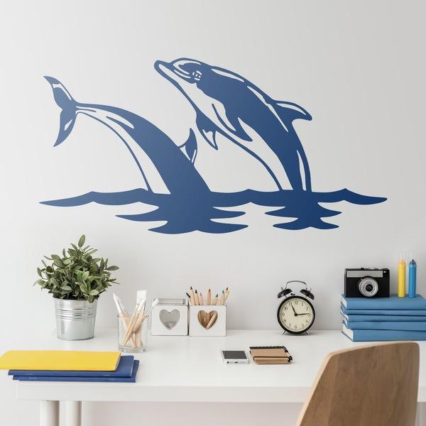 Vinilos Decorativos: 2 Delfines saltan en el mar
