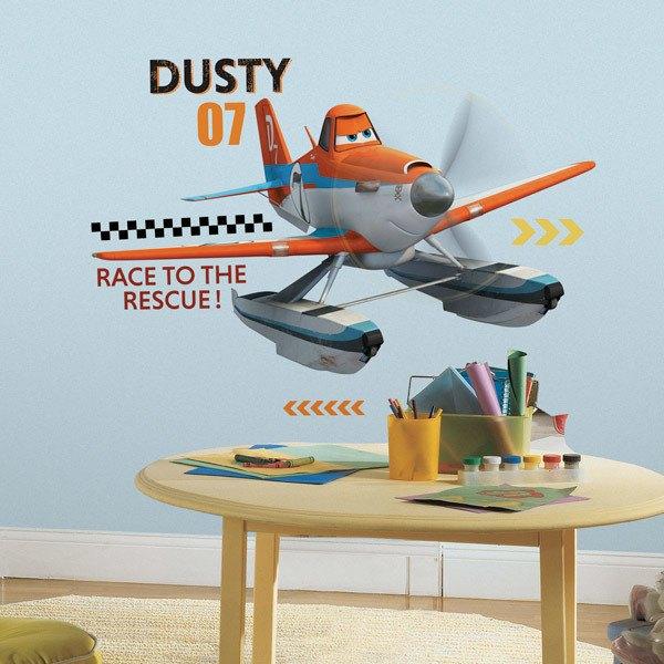 Vinilos Infantiles: Gran Vinilo Dusty Aviones 2 Equipo de Rescate