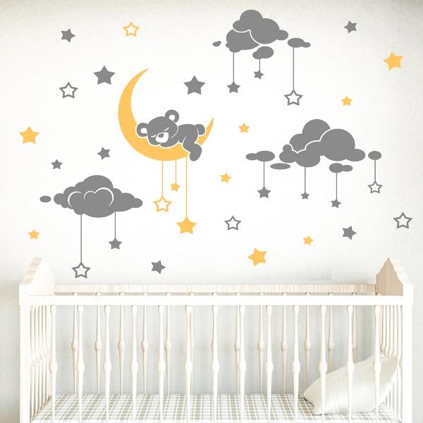 Vinilos Infantiles: Oso dormilón y cielo estrellado