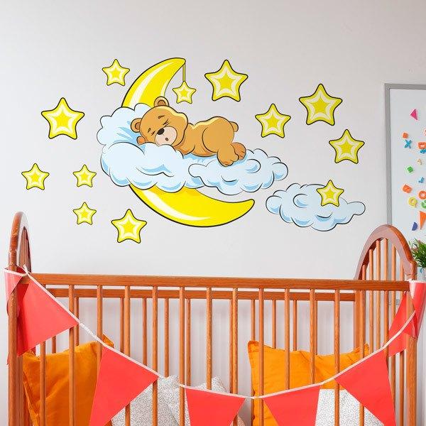 Vinilos Infantiles: Oso en las nubes y luna amarillo