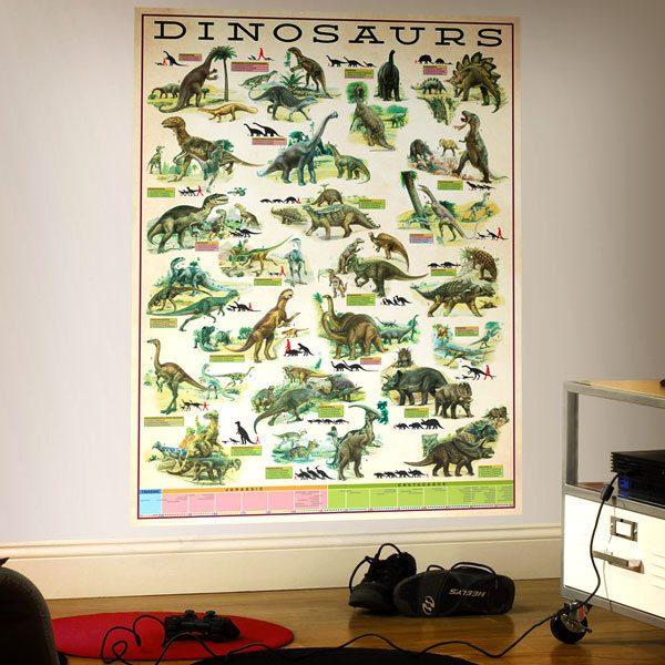 Vinilos Decorativos: Poster adhesivo infografía Dinosaurios