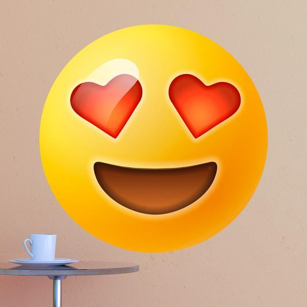 Vinilos Decorativos: Cara sonriente y ojos en forma de corazón