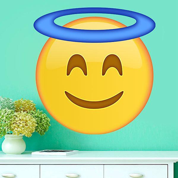 Vinilos Decorativos: Cara sonriente con aureola de santo