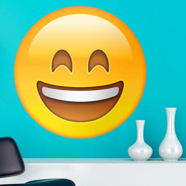 Vinilos Decorativos: Cara sonriente con boca y ojos abiertos