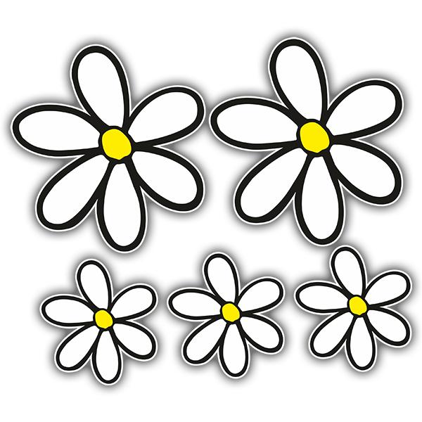 Vinilos Decorativos: Kit de 5 pegatinas flor margarita surf