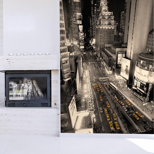 Fotomurales: Times Square en sepia y taxis en amarillo