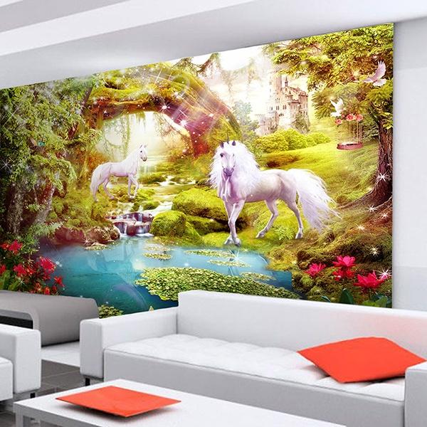 Fotomural caballos en el jard n fant stico for Jardines murales