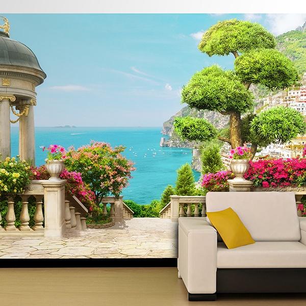 Fotomurales: Jardín con vistas al mar