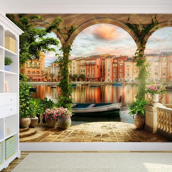 Fotomurales: Porche en los canales de Venecia