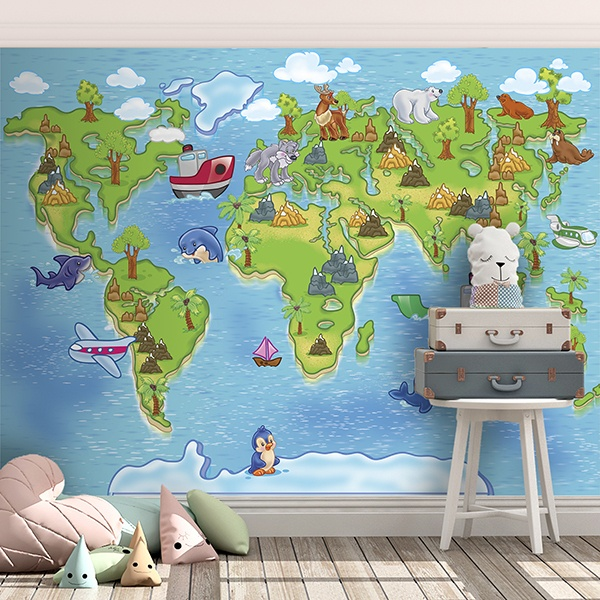 Fotomurales: Mapamundi infantil 3