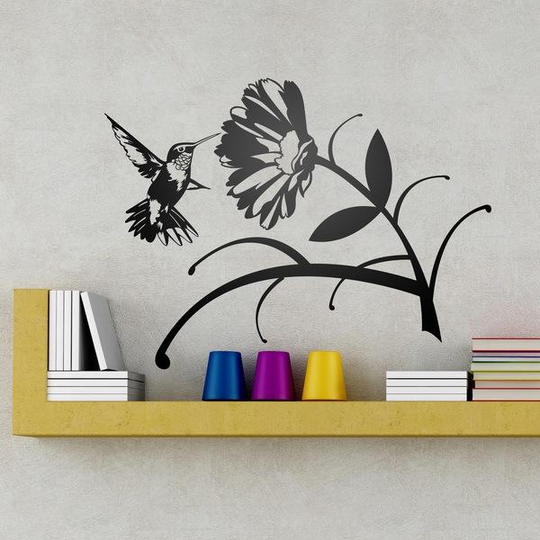 Vinilos Decorativos: Pájaro Colibrí y flor