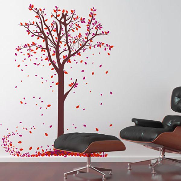 Vinilos Decorativos: Hojas caen del árbol en otoño