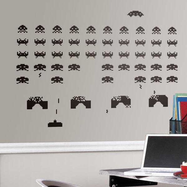 Space invaders for Vinilos decorativos juveniles
